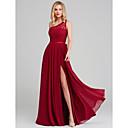 זול שמלות שושבינה-גזרת A כתפיה אחת ארוך שיפון / תחרה שמלה לשושבינה  עם סרט על ידי LAN TING BRIDE®