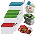 Недорогие Бокалы для вина-1 шт. Многоразовые сетки производят мешки моющиеся мешки для продуктовых магазинов хранения фруктов, овощей, игрушек всякой организатор сумка для хранения