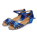 זול חליפות רטובות,חליפות צלילה וחולצות ראש-גארד-בנות נעלי ריקוד מיקרופייבר נעליים לטיניות עקבים עקב עבה כסף / אדום / כחול / הצגה / עור / אימון