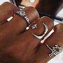 זול עגילים אופנתיים-בגדי ריקוד נשים טבעת טבעת הגדר טבעת מידי זירקונה מעוקבת 3pcs כסף סגסוגת מעגלי פשוט טרנדי חתונה תכשיטים חמוד