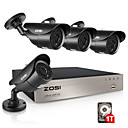 זול ערכת DVR-Zosi 4ch מלא HD 1080p וידאו אבטחה dvr ערכת עם 1080p HD בחוץ מזג האוויר מעקב ir לחתוך מצלמת וידאו מערכת 1tb HDD מותקנת מראש