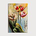 זול ציורי נוף-ציור שמן צבוע-Hang מצויר ביד - פרחוני / בוטני מודרני כלול מסגרת פנימית