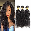 billige Parykker af ægte menneskerhår-3 Bundler Brasiliansk hår Kinky Curly 100% Remy Hair Weave Bundles Menneskehår, Bølget Bundle Hair Én Pack Solution 8-28 inch Naturlig Farve Menneskehår Vævninger Cosplay Tyk Bryllup Menneskehår