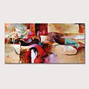 povoljno Apstraktno slikarstvo-Hang oslikana uljanim bojama Ručno oslikana - Ljudi Mustard Moderna Bez unutrašnje Frame