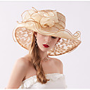 povoljno Kentucky Derby Hat-Žene Cvjetni print Zabava Aktivan Slatka Style Šifon Čipka-Šešir širokog oboda Šešir za sunce Sva doba Bež Sive boje Žutomrk