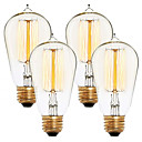 preiswerte Glühlampen-4pcs 40 W E26 / E27 ST58 Warmes Weiß 2300 k Retro / Abblendbar / Dekorativ Glühbirne Vintage Edison Glühbirne 220-240 V