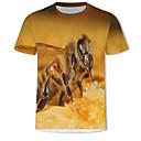 levne Pánské tenisky-Pánské - 3D / Zvíře Větší velikosti Tričko, Tisk Bavlna Kulatý Khaki XXXXL
