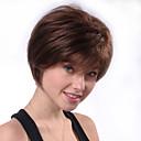 저렴한 인모 레이스 가발-인간의 머리카락없는 Capless 가발 인모 자연 스트레이트 픽시 컷 스타일 최고의 품질 / 새로운 / 편안함 브라운 짧음 캡 없음 가발 여성용 / 모두 / 흑인 가발