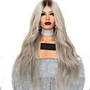 cheap Synthetic Lace Wigs-Human Hair Lace Wig kinky Straight Style Middle Part Lace Front Wig Dark Brown Silver Synthetic Hair 26 inch Women's Women Dark Brown Wig Long Natural Wigs