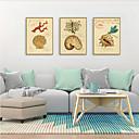 זול אומנות ממוסגרת-דפוס אומנות ממוסגרת סט ממוסגר - חיות פרחוני / בוטני פוליסטירן איור וול ארט
