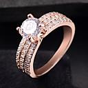 זול Fashion Ring-בגדי ריקוד נשים טבעת זירקונה מעוקבת 1pc כסף זהב ורד סגסוגת מעגלי טרנדי אלגנטית חתונה תכשיטים לְחַבֵּב חמוד