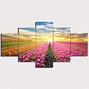 halpa Tulosteet-Painettu Pingoitetut kanvasprintit - Kukkakuvio / Kasvitiede Perinteinen Moderni 5 paneeli Art Prints