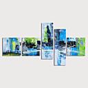 זול ציורים מופשטים-ציור שמן צבוע-Hang מצויר ביד - מופשט מודרני כלול מסגרת פנימית / חמישה פנלים