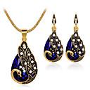 זול סטים של תכשיטים-בגדי ריקוד נשים טבעות חישוקים שרשרת סגנון וינטג' מְעַדֵן עגילים תכשיטים אדום / ירוק / כחול עבור Party יומי 1set