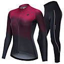 cheap Cycling Jerseys-Nuckily Women's Long Sleeve Cycling Jersey with Tights Dark Gray Burgundy Gradient Bike Clothing Suit Breathable Sports Polyester Spandex Reactive Print Clothing Apparel / Micro-elastic / SBS Zipper