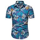 hesapli Erkek Gömlekleri-Erkek Pamuklu Gömlek Desen, Çiçekli Temel AB / ABD Beden Havuz / Kısa Kollu