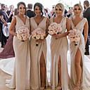 זול שמלות שושבינה-צלילה שיפון שמלה לשושבינה  עם שסע קדמי / סלסולים על ידי JUDY&JULIA
