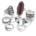 זול טבעות-בגדי ריקוד נשים טבעת הגדר זירקונה מעוקבת 8pcs זהב כסף סגסוגת מעגלי ארופאי חתונה תכשיטים חמוד