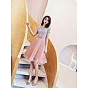 זול שמלות שושבינה-גזרת A עם תכשיטים קצר \ מיני אורגנזה / נצנצים שמלה עם סרט על ידי LAN TING Express