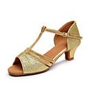 זול קפה ותה-בנות נעלי ריקוד סינטטיים נעליים לטיניות עקבים עקב עבה מותאם אישית חום / כסף / קאמל / הצגה / עור / אימון