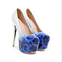 זול נעלי עקב לנשים-בגדי ריקוד נשים דמוי עור קיץ עקבים פלטפורמה שחור / צהוב / כחול / מסיבה וערב