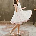 זול עקבים קטנים עבור בני נוער-שמלה עד הברך ללא שרוולים קפלים / Ruched מנוקד כחול מתוק / סגנון חמוד בנות ילדים / פעוטות