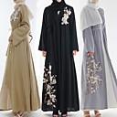 זול לבוש מסורתי ותרבותי-לבוש מסורתי ותרבותי Abaya בגדי ריקוד נשים לבוש יומיומי שיפון ריקמה שרוול ארוך עבאיה