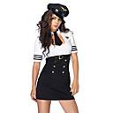 Недорогие Профессиональные костюмы-Жен. Полиция Короткая юбочка Пол Косплэй Kостюмы Сплошной цвет Рубашка Платье Шапки