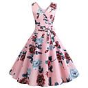 abordables Reina Vintage-Mujer Vintage Línea A Vestido - Retazos Estampado, Floral Hasta la Rodilla
