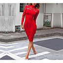 رخيصةأون خصلات الشعر باللون الطبيعي-فستان نسائي ضيق ميدي أحمر لون سادة رقبة عالية مناسب للعطلات مناسب للخارج نادي / مثير