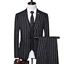 povoljno Muška sportska obuća-Muškarci odijela, Prugasti uzorak Klasični rever Poliester Crn / Navy Plava / Bež