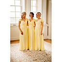 זול שמלות שושבינה-גזרת A צווארון V עד הריצפה שיפון שמלה לשושבינה  עם קפלים מדורגים / סלסולים על ידי JUDY&JULIA
