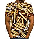 billige Bordlamper-Rund hals EU / USA størrelse T-skjorte Herre - Fargeblokk / 3D / Grafisk, Trykt mønster Gatemote / overdrevet Klubb Gull / Kortermet