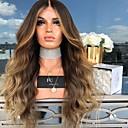 hesapli Sentetik Dantel Peruklar-Gerçek Saç Örme Peruklar Vücut Dalgası Stil Orta kısım Bonesiz Peruk Altın Blonde Sentetik Saç 26 inç Kadın's Kadın Altın Peruk Uzun Doğal Peruk