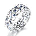 זול טבעות-בגדי ריקוד נשים טבעת הטבעת זירקונה מעוקבת 1pc כסף S925 כסף סטרלינג סגסוגת Circle Shape קלסי וינטאג' אלגנטית חתונה ארוסים תכשיטים סגנון וינטג' פרח חמוד