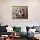 halpa Kehystetty taide-Kehystetty taidepainate Kehystetty setti - Abstrakti Eläimet Polystyreeni Öljymaalaus Wall Art