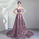 זול שמלות שושבינה-גזרת A סטרפלס שובל סוויפ \ בראש טול ערב רישמי שמלה עם אפליקציות על ידי LAN TING Express