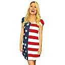 זול תלבושות אתניות ותרבותיות-מבוגרים בגדי ריקוד נשים קוספליי דגל אמריקאי שמלות תחפושות קוספליי עבור Halloween לבוש יומיומי ספנדקס polyster יום העצמאות שמלה
