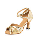 זול נעליים לטיניות-בגדי ריקוד נשים נעלי ריקוד PU נעליים לטיניות נצנוץ / Paillette עקבים עקב רחב מותאם אישית זהב / אפור / כסף / הצגה / עור / אימון