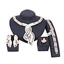 billige Mote Halskjede-Dame Gull Brude smykker sett Link / Kjede Bølge Vintage Strass øredobber Smykker Gull Til Bryllup Engasjement Gave 1set / Øredobber