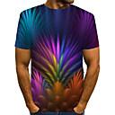 halpa Muotikorvakorut-Miesten Painettu Kukka / Color Block / 3D Katutyyli / Liioiteltu T-paita Sateenkaari US40