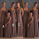 זול שמלות שושבינה-גזרת A קולר / לב (סוויטהארט) עד הריצפה שיפון שמלה לשושבינה  עם סלסולים על ידי JUDY&JULIA