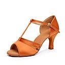 זול נעליים לטיניות-בגדי ריקוד נשים נעלי ריקוד סטן נעליים לטיניות עקבים עקב קובני מותאם אישית שחור / חום / קאמל / הצגה / עור