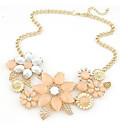 זול סטים של תכשיטים-בגדי ריקוד נשים שרשראות הצהרה קלאסי פרח אהבה הצהרה וינטאג' אלגנטית Chrome יהלום מדומה לבן ורוד 45+5.5 cm שרשראות תכשיטים 1pc עבור חתונה יומי פֶסטִיבָל