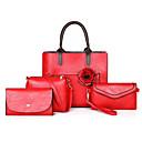 hesapli Çanta Setleri-Kadın's Çiçekli PU Çanta Setleri 4 Adet Çanta Seti Doğal Pembe / Gri / Kahverengi / Sonbahar Kış