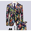 halpa Miesten bleiserit ja puvut-Miesten Suits, Geometrinen Paitapuserokaula-aukko Polyesteri Sateenkaari XXXXL / XXXXXL / XXXXXXL