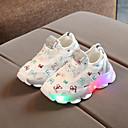 זול Kids' Flats-בנות נוחות / נעליים זוהרות רשת נעלי אתלטיקה ילדים קטנים (4-7) הליכה LED לבן / שחור / ורוד אביב / קיץ / גומי
