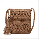 cheap Crossbody Bags-Women's Tassel Straw Crossbody Bag Solid Color Beige / Khaki