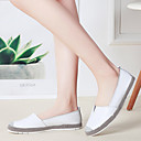 cheap Women's Flats-Women's Loafers & Slip-Ons Flat Heel Round Toe Cowhide British / Minimalism Walking Shoes Spring &  Fall / Summer Black / White / Silver