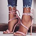 povoljno Ženske sandale-Žene Sandale Stiletto potpetica Okrugli Toe Kopča Brušena koža Proljeće & Jesen / Ljeto Crn / Bež / Pink